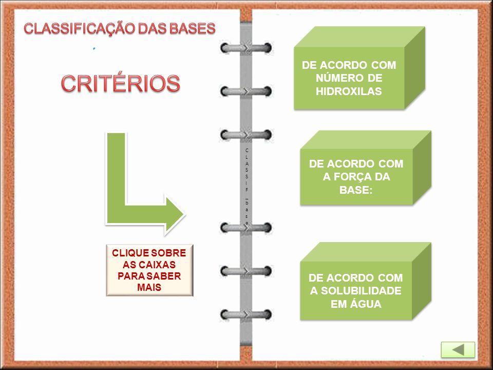 CLASSIF_baseCLASSIF_base DE ACORDO COM NÚMERO DE HIDROXILAS DE ACORDO COM NÚMERO DE HIDROXILAS DE ACORDO COM A FORÇA DA BASE: DE ACORDO COM A FORÇA DA