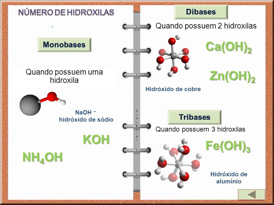 Quando possuem uma hidroxila Quando possuem 2 hidroxilas Quando possuem 3 hidroxilas NaOH – hidróxido de sódio NH 4 OH KOH Hidróxido de cobre Ca(OH) 2