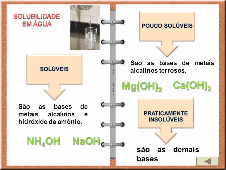 solubilidadesolubilidade São as bases de metais alcalinos e hidróxido de amônio. NaOH NH 4 OH São as bases de metais alcalinos terrosos. Mg(OH) 2 Ca(O
