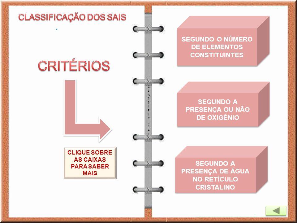 CLASSIFIC_SAISCLASSIFIC_SAIS SEGUNDO O NÚMERO DE ELEMENTOS CONSTITUINTES SEGUNDO O NÚMERO DE ELEMENTOS CONSTITUINTES SEGUNDO A PRESENÇA OU NÃO DE OXIG