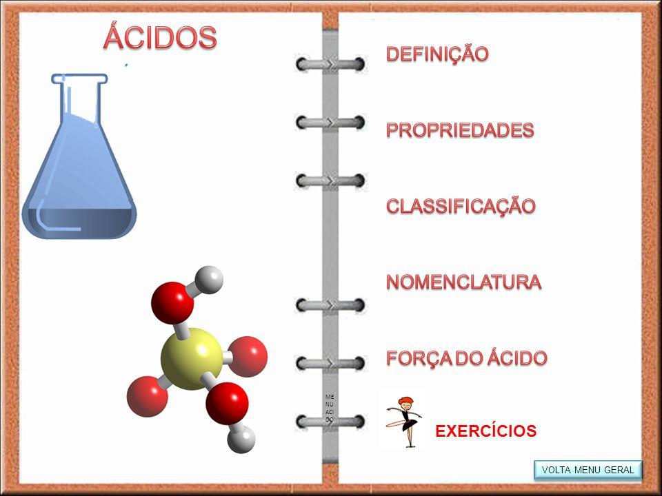 Presença de H+ Sabor azedo Reagem com bases formando sal e água Conduzem corrente elétrica, em meio aquosos Reagem com metais liberando H + ÁCIDO BASE SAL ÁGUA Clique para saber mais Clique para saber mais PR OP _A C