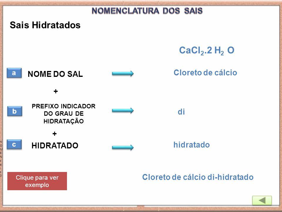 NOMENsais3NOMENsais3 Sais Hidratados a a NOME DO SAL HIDRATADO + CaCl 2.2 H 2 O Cloreto de cálcio di-hidratado PREFIXO INDICADOR DO GRAU DE HIDRATAÇÃO