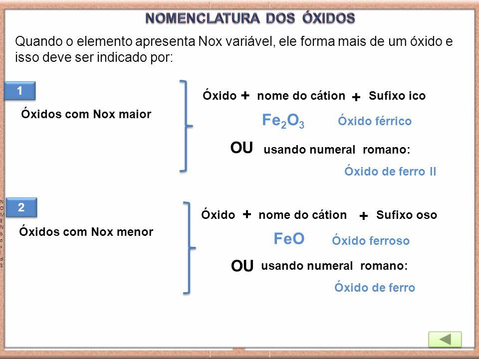 Quando o elemento apresenta Nox variável, ele forma mais de um óxido e isso deve ser indicado por: NOMENboxid3NOMENboxid3 Óxidos com Nox maior ÓxidoSu