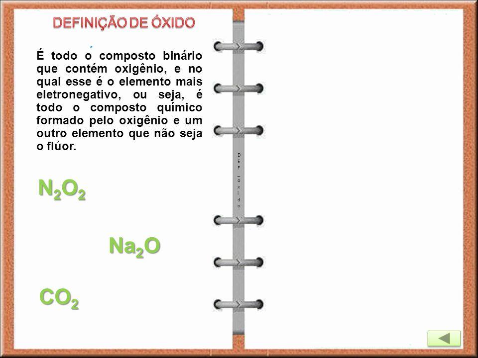 É todo o composto binário que contém oxigênio, e no qual esse é o elemento mais eletronegativo, ou seja, é todo o composto químico formado pelo oxigên