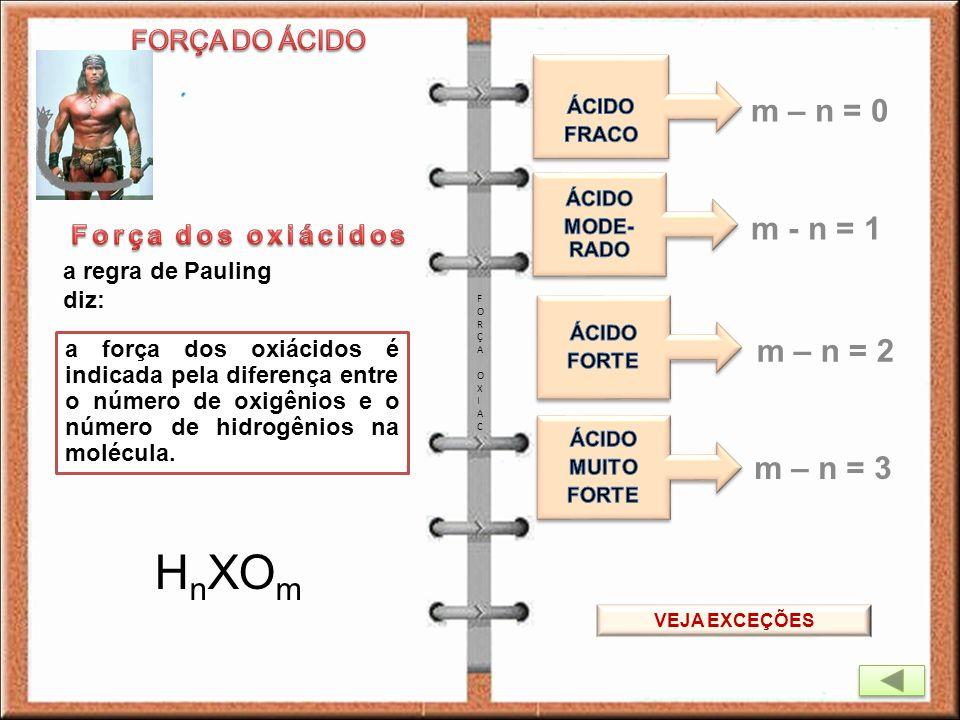 a regra de Pauling diz: a força dos oxiácidos é indicada pela diferença entre o número de oxigênios e o número de hidrogênios na molécula. H n XO m m