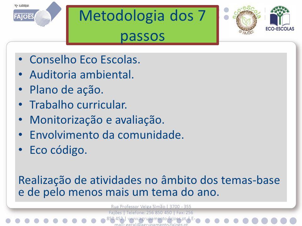 Metodologia dos 7 passos Conselho Eco Escolas. Auditoria ambiental. Plano de ação. Trabalho curricular. Monitorização e avaliação. Envolvimento da com