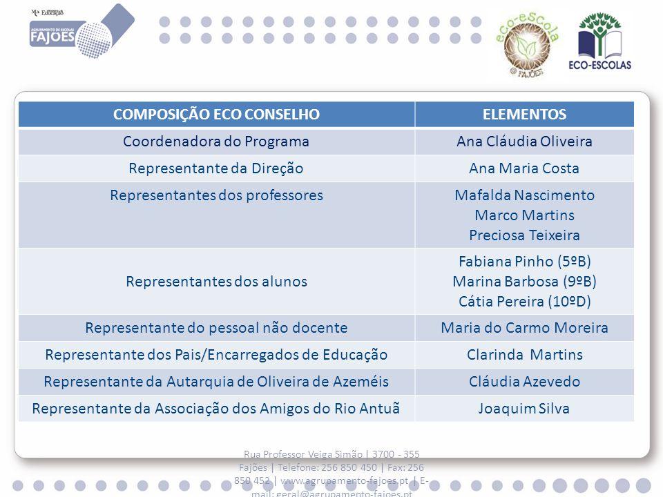 Rua Professor Veiga Simão | 3700 - 355 Fajões | Telefone: 256 850 450 | Fax: 256 850 452 | www.agrupamento-fajoes.pt | E- mail: geral@agrupamento-fajoes.pt ESCOLA EB CASAL MARINHO ESCOLA EB CASAL MARINHO ECO CONSELHO