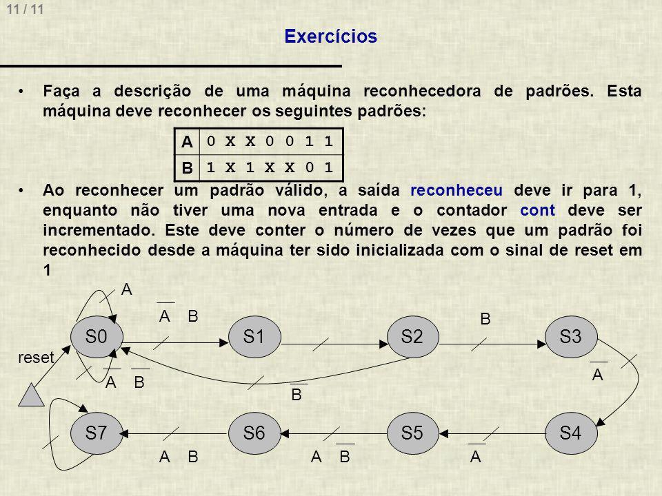 11 / 11 Exercícios Faça a descrição de uma máquina reconhecedora de padrões.