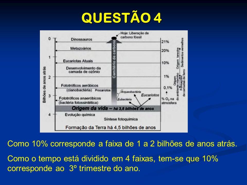 QUESTÃO 4 Como 10% corresponde a faixa de 1 a 2 bilhões de anos atrás. Como o tempo está dividido em 4 faixas, tem-se que 10% corresponde ao 3º trimes