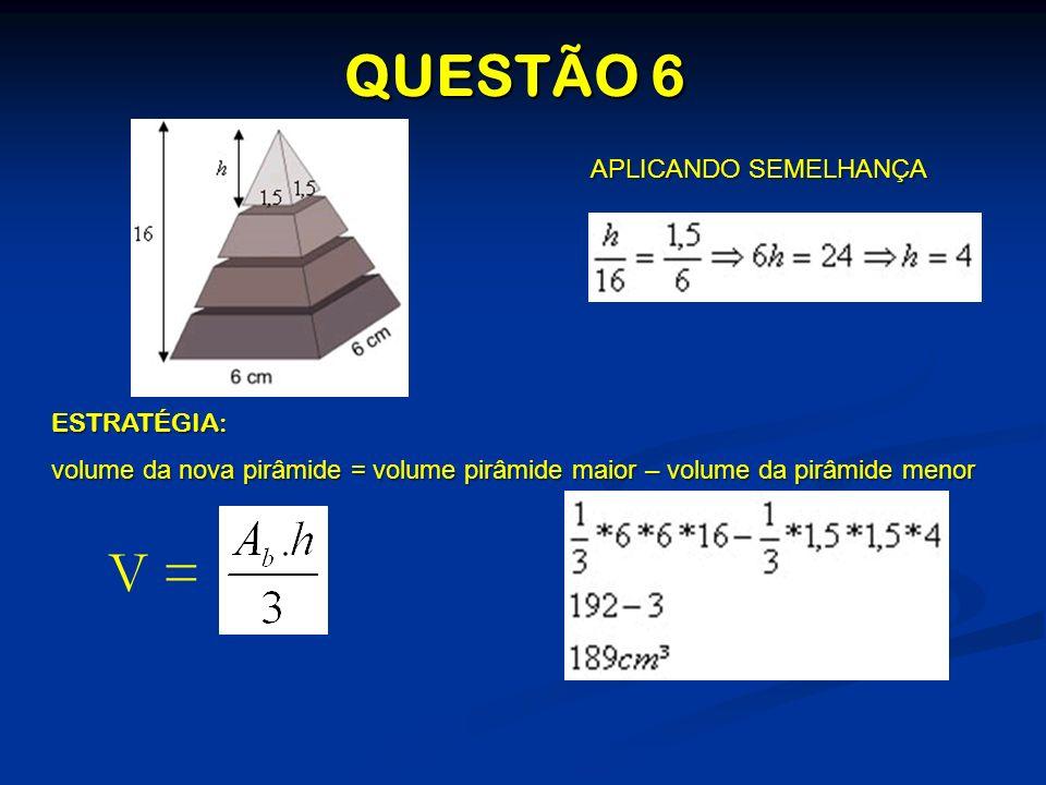 APLICANDO SEMELHANÇA ESTRATÉGIA: volume da nova pirâmide = volume pirâmide maior – volume da pirâmide menor V =