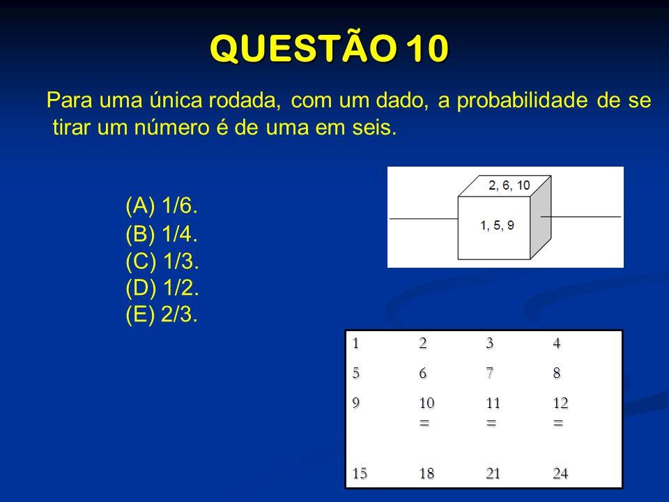QUESTÃO 10 Para uma única rodada, com um dado, a probabilidade de se tirar um número é de uma em seis. (A) 1/6. (B) 1/4. (C) 1/3. (D) 1/2. (E) 2/3. 12