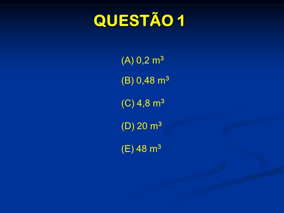 (A) 0,2 m 3 (B) 0,48 m 3 (C) 4,8 m 3 (D) 20 m 3 (E) 48 m 3 QUESTÃO 1