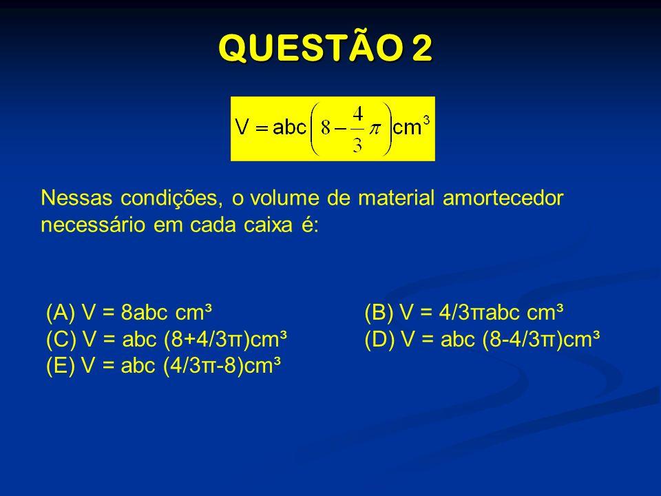 QUESTÃO 2 Nessas condições, o volume de material amortecedor necessário em cada caixa é: (A) (A) V = 8abc cm³ (C) V = abc (8+4/3π)cm³ (E) V = abc (4/3