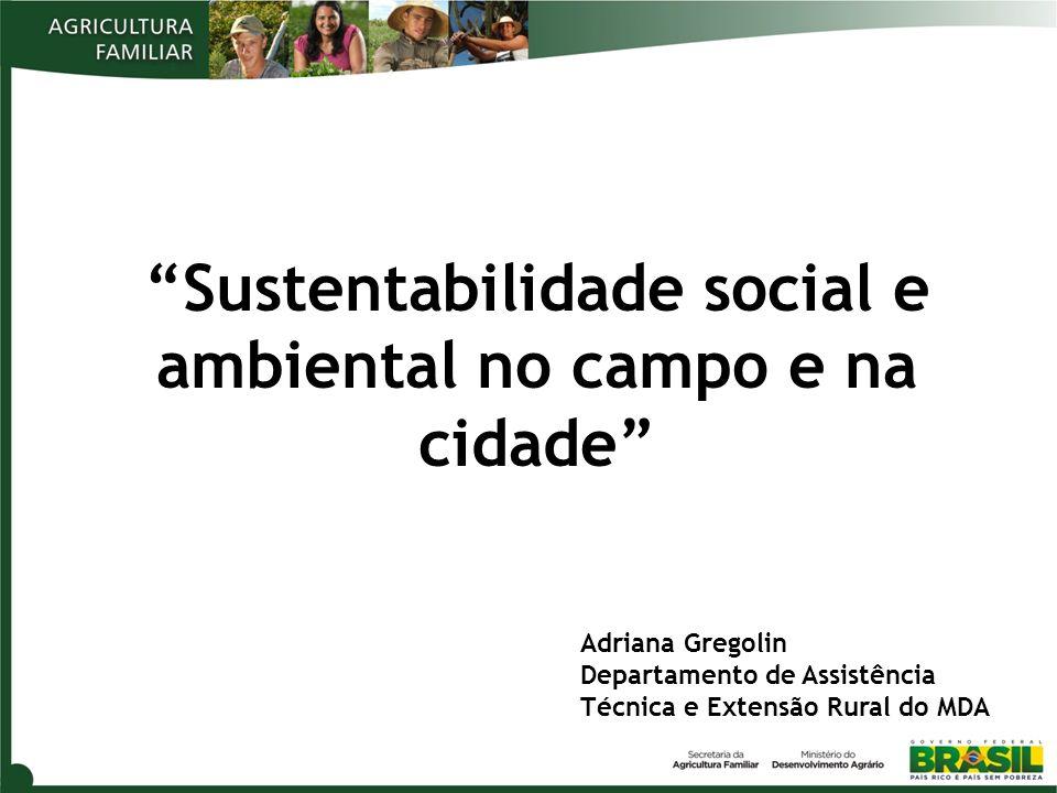 Sustentabilidade social e ambiental no campo e na cidade Adriana Gregolin Departamento de Assistência Técnica e Extensão Rural do MDA