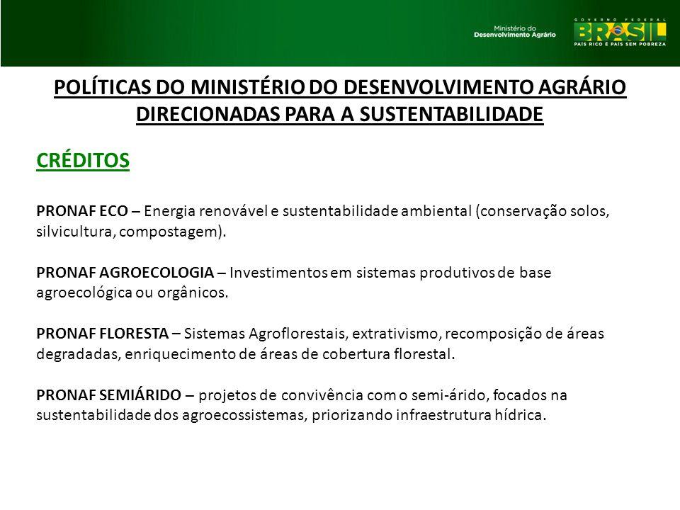 POLÍTICAS DO MINISTÉRIO DO DESENVOLVIMENTO AGRÁRIO DIRECIONADAS PARA A SUSTENTABILIDADE CRÉDITOS PRONAF ECO – Energia renovável e sustentabilidade amb