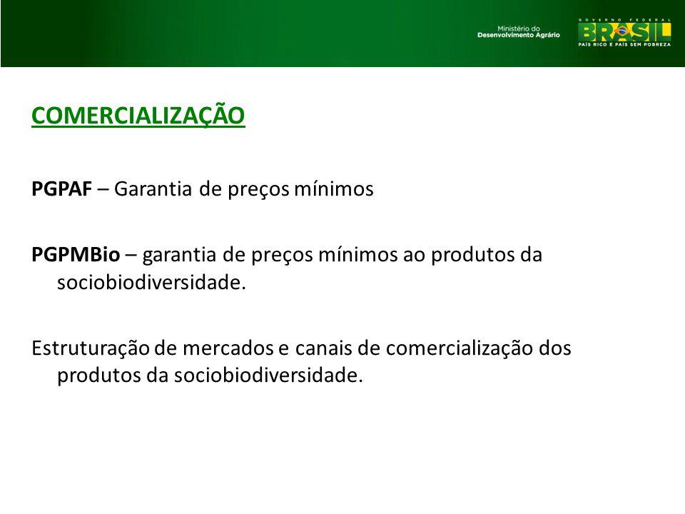 COMERCIALIZAÇÃO PGPAF – Garantia de preços mínimos PGPMBio – garantia de preços mínimos ao produtos da sociobiodiversidade. Estruturação de mercados e