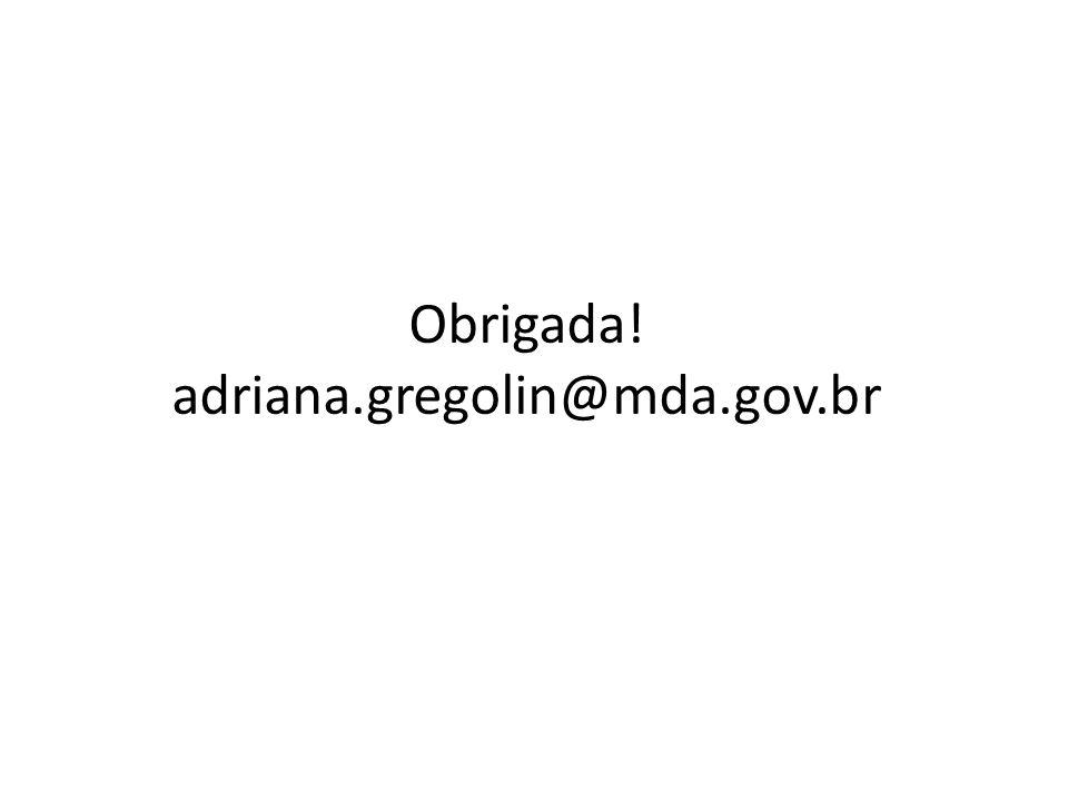 Obrigada! adriana.gregolin@mda.gov.br