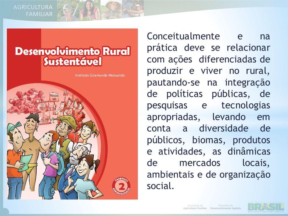 Conceitualmente e na prática deve se relacionar com ações diferenciadas de produzir e viver no rural, pautando-se na integração de políticas públicas,