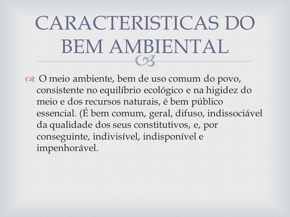 O meio ambiente, bem de uso comum do povo, consistente no equilíbrio ecológico e na higidez do meio e dos recursos naturais, é bem público essencial.