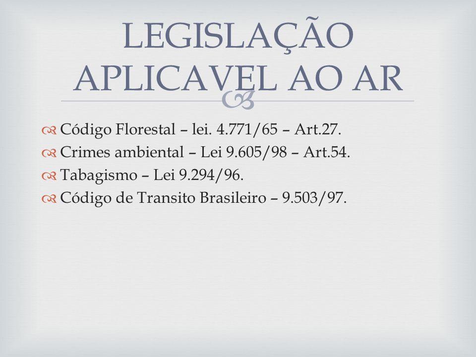 Código Florestal – lei. 4.771/65 – Art.27. Crimes ambiental – Lei 9.605/98 – Art.54. Tabagismo – Lei 9.294/96. Código de Transito Brasileiro – 9.503/9