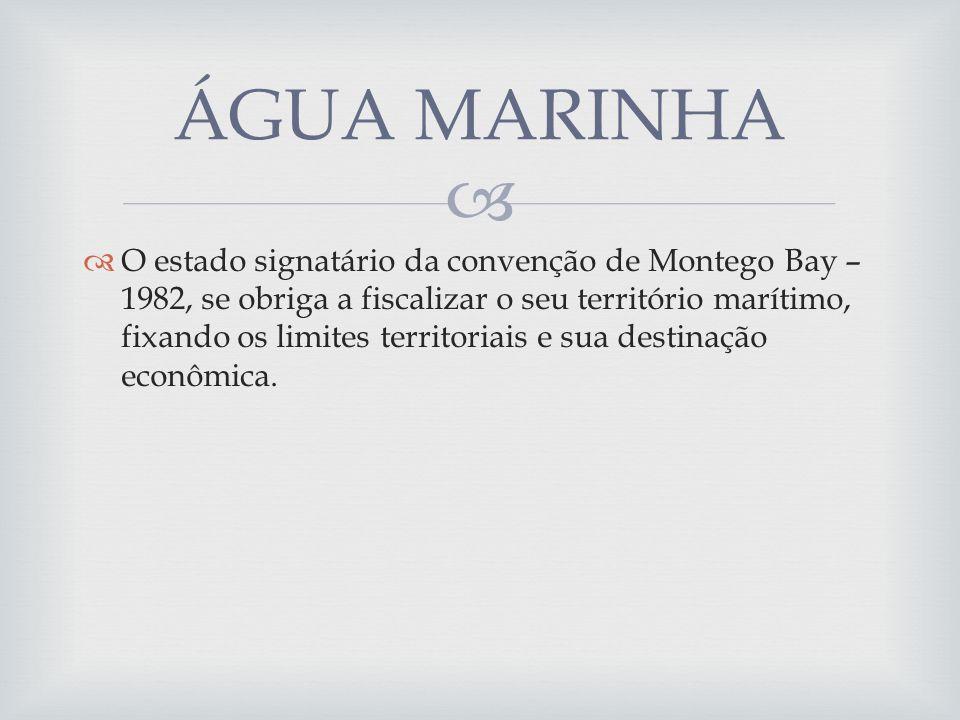 O estado signatário da convenção de Montego Bay – 1982, se obriga a fiscalizar o seu território marítimo, fixando os limites territoriais e sua destinação econômica.