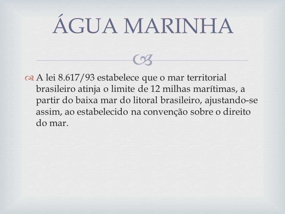 A lei 8.617/93 estabelece que o mar territorial brasileiro atinja o limite de 12 milhas marítimas, a partir do baixa mar do litoral brasileiro, ajustando-se assim, ao estabelecido na convenção sobre o direito do mar.