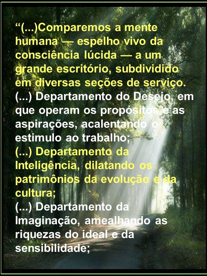 (...)Comparemos a mente humana espelho vivo da consciência lúcida a um grande escritório, subdividido em diversas seções de serviço. (...) Departament