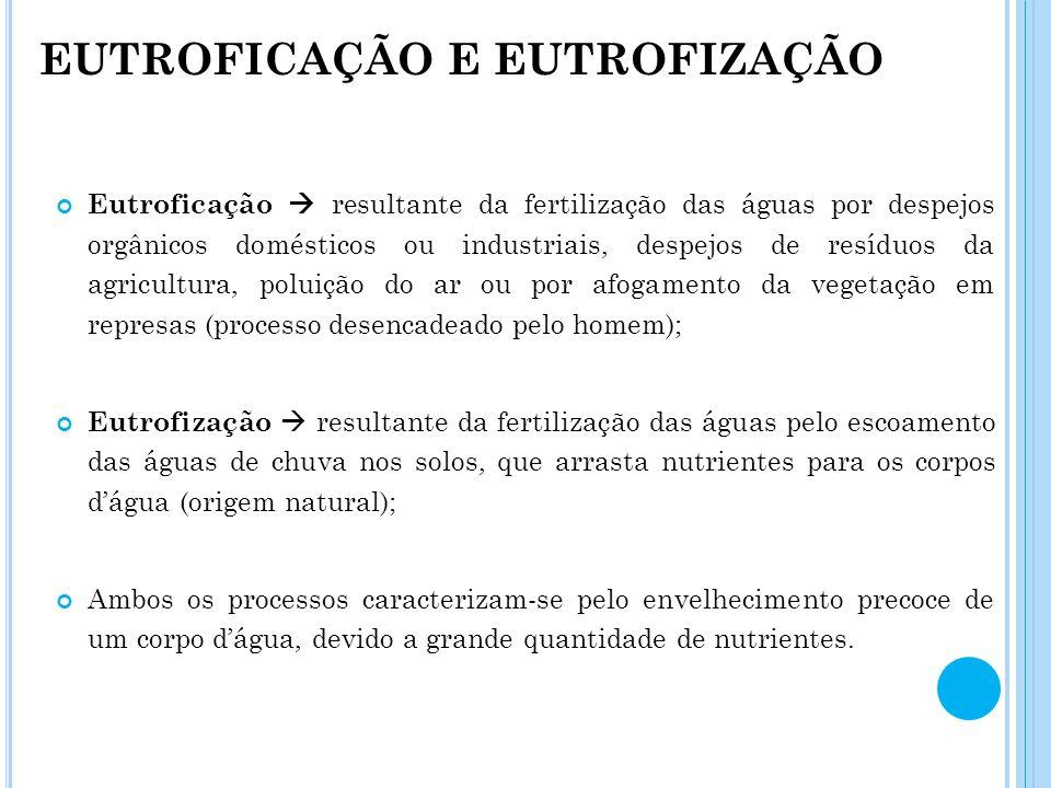 EUTROFICAÇÃO E EUTROFIZAÇÃO Eutroficação resultante da fertilização das águas por despejos orgânicos domésticos ou industriais, despejos de resíduos d