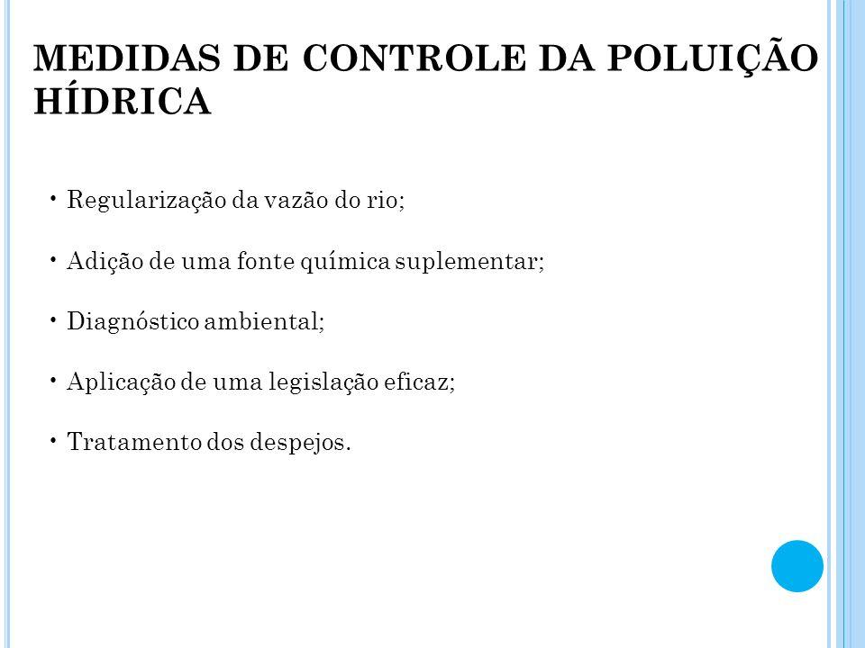 MEDIDAS DE CONTROLE DA POLUIÇÃO HÍDRICA Regularização da vazão do rio; Adição de uma fonte química suplementar; Diagnóstico ambiental; Aplicação de um