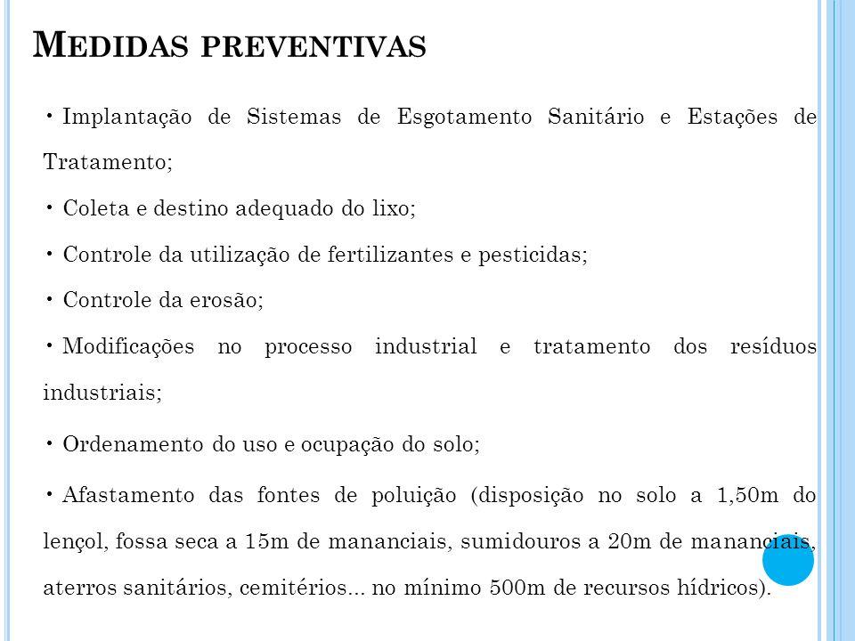 M EDIDAS PREVENTIVAS Implantação de Sistemas de Esgotamento Sanitário e Estações de Tratamento; Coleta e destino adequado do lixo; Controle da utiliza