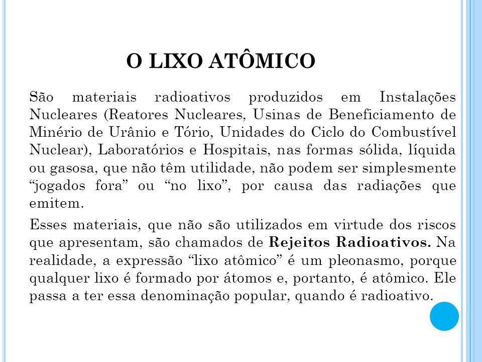 O LIXO ATÔMICO São materiais radioativos produzidos em Instalações Nucleares (Reatores Nucleares, Usinas de Beneficiamento de Minério de Urânio e Tóri