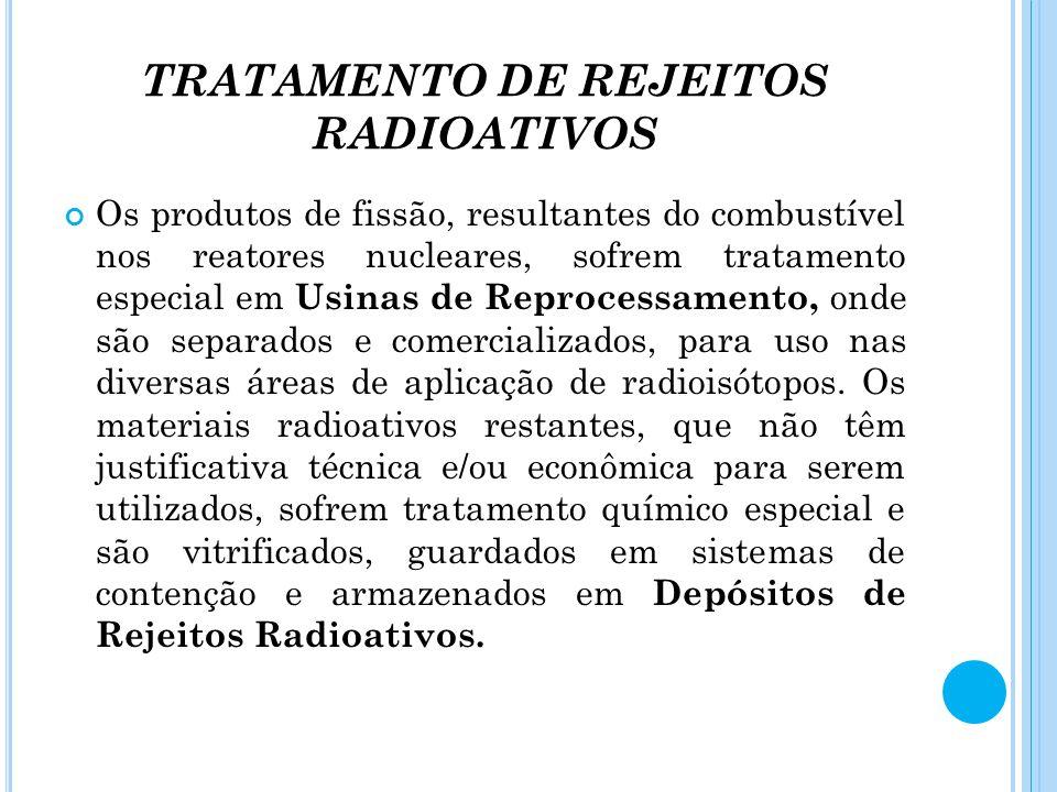 TRATAMENTO DE REJEITOS RADIOATIVOS Os produtos de fissão, resultantes do combustível nos reatores nucleares, sofrem tratamento especial em Usinas de R