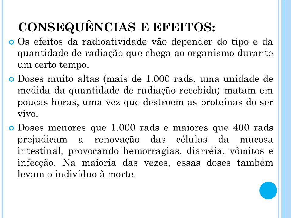 CONSEQUÊNCIAS E EFEITOS: Os efeitos da radioatividade vão depender do tipo e da quantidade de radiação que chega ao organismo durante um certo tempo.