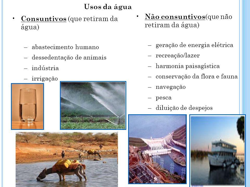 Consuntivos (que retiram da água) –abastecimento humano –dessedentação de animais –indústria –irrigação Não consuntivos (que não retiram da água) –ger
