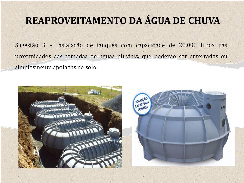 Sugestão 3 – Instalação de tanques com capacidade de 20.000 litros nas proximidades das tomadas de águas pluviais, que poderão ser enterradas ou simplesmente apoiadas no solo.