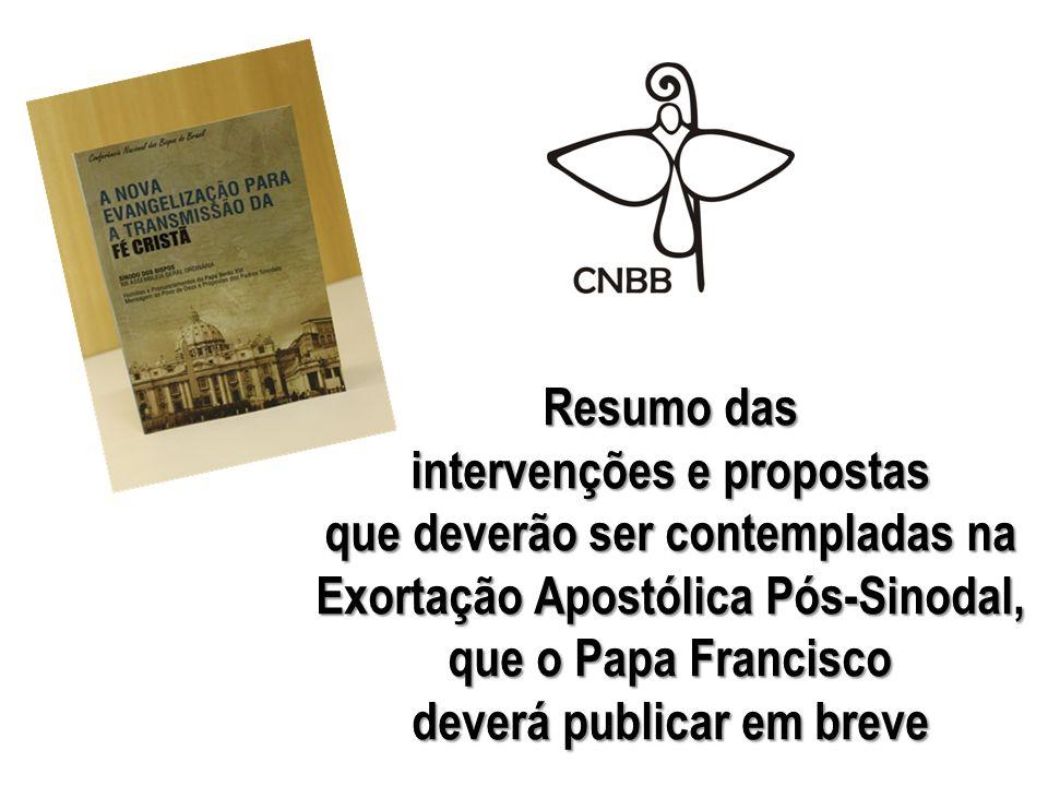 Resumo das intervenções e propostas que deverão ser contempladas na Exortação Apostólica Pós-Sinodal, que o Papa Francisco deverá publicar em breve