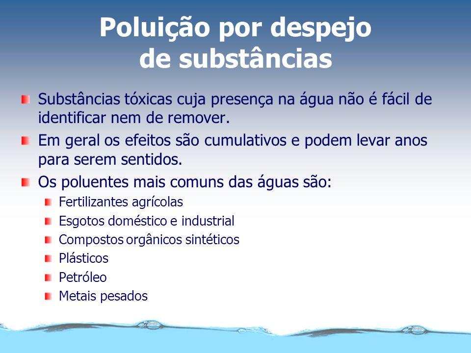 Poluição por despejo de substâncias Substâncias tóxicas cuja presença na água não é fácil de identificar nem de remover. Em geral os efeitos são cumul