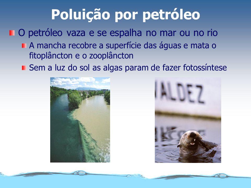 Poluição por petróleo O petróleo vaza e se espalha no mar ou no rio A mancha recobre a superfície das águas e mata o fitoplâncton e o zooplâncton Sem