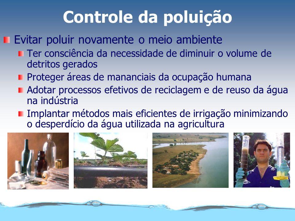 Controle da poluição Evitar poluir novamente o meio ambiente Ter consciência da necessidade de diminuir o volume de detritos gerados Proteger áreas de