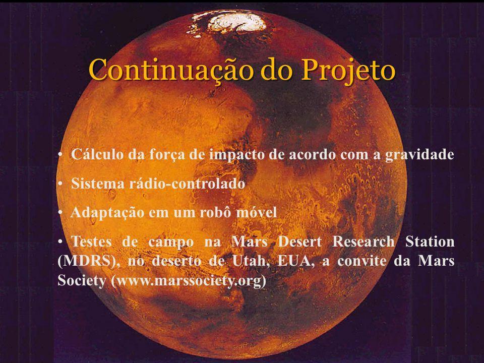 Continuação do Projeto Cálculo da força de impacto de acordo com a gravidade Sistema rádio-controlado Adaptação em um robô móvel Testes de campo na Ma