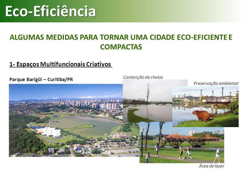 Contenção de cheias ALGUMAS MEDIDAS PARA TORNAR UMA CIDADE ECO-EFICIENTE E COMPACTAS Eco-Eficiência 1- Espaços Multifuncionais Criativos Parque Barigü