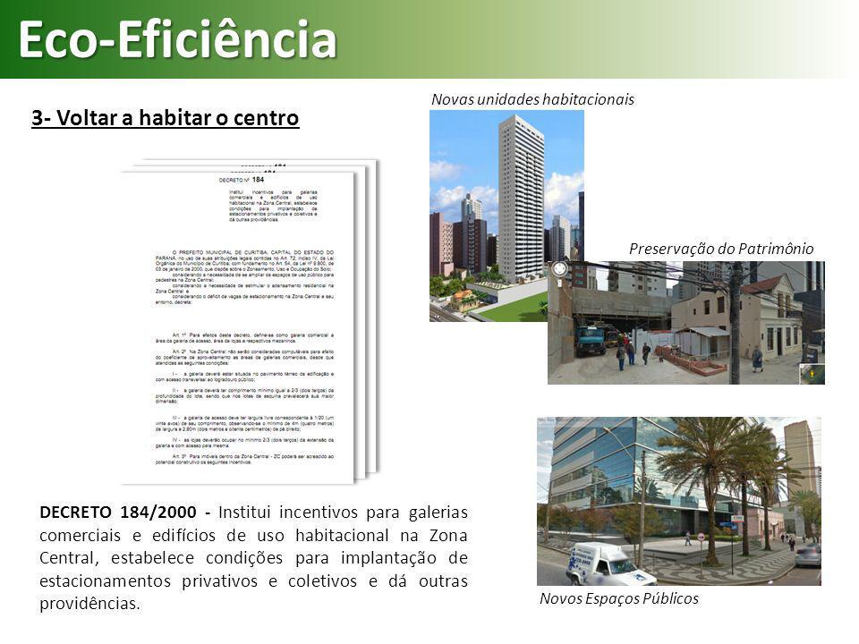 Eco-Eficiência 3- Voltar a habitar o centro DECRETO 184/2000 - Institui incentivos para galerias comerciais e edifícios de uso habitacional na Zona Ce