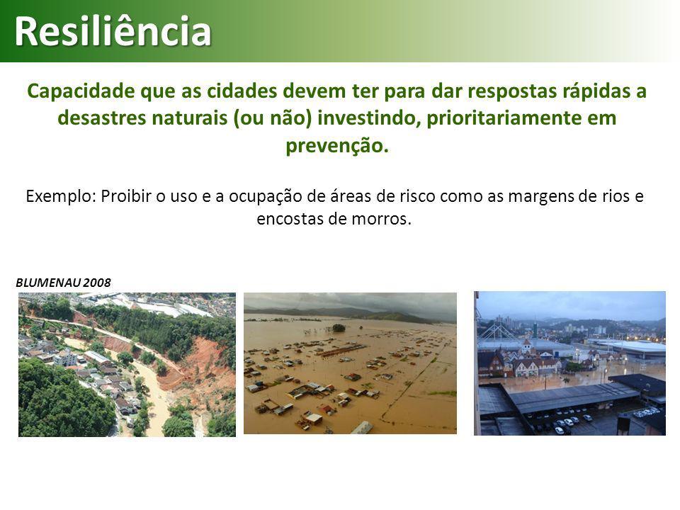 Capacidade que as cidades devem ter para dar respostas rápidas a desastres naturais (ou não) investindo, prioritariamente em prevenção. Exemplo: Proib