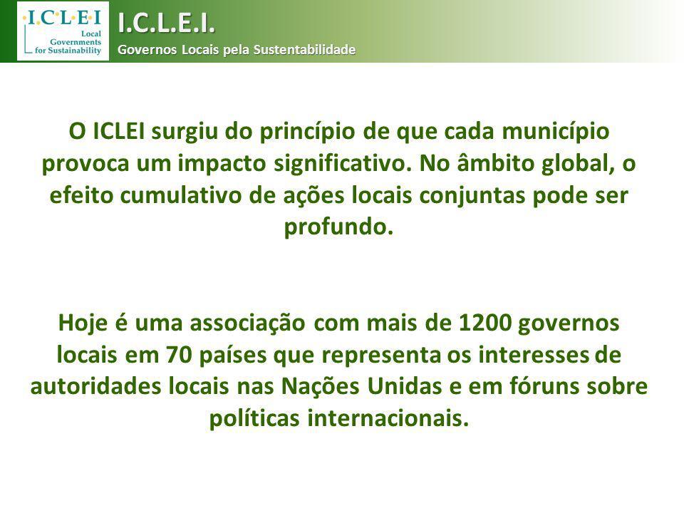 O ICLEI surgiu do princípio de que cada município provoca um impacto significativo. No âmbito global, o efeito cumulativo de ações locais conjuntas po