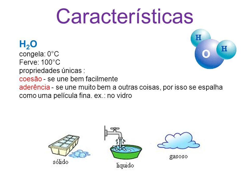 Características H 2 O congela: 0°C Ferve: 100°C propriedades únicas : coesão - se une bem facilmente aderência - se une muito bem a outras coisas, por