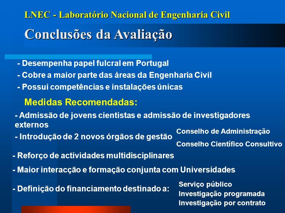 LNEC - Laboratório Nacional de Engenharia Civil Conclusões da Avaliação - Desempenha papel fulcral em Portugal - Cobre a maior parte das áreas da Enge