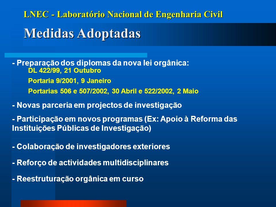LNEC - Laboratório Nacional de Engenharia Civil Medidas Adoptadas - Preparação dos diplomas da nova lei orgânica: DL 422/99, 21 Outubro Portaria 9/200