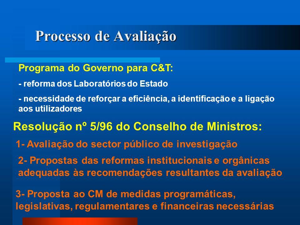 Processo de Avaliação Programa do Governo para C&T: - reforma dos Laboratórios do Estado - necessidade de reforçar a eficiência, a identificação e a l