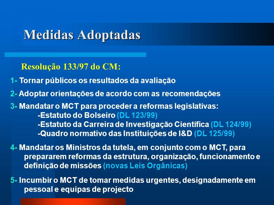 Medidas Adoptadas Resolução 133/97 do CM: 1- Tornar públicos os resultados da avaliação 2- Adoptar orientações de acordo com as recomendações 3- Manda