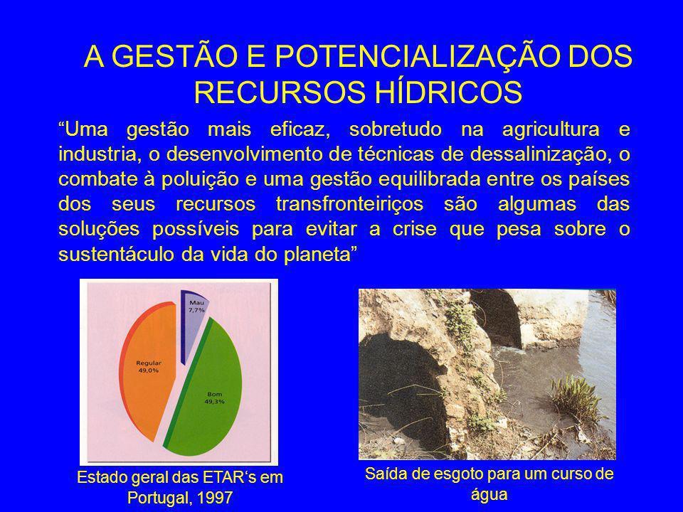 Uma gestão mais eficaz, sobretudo na agricultura e industria, o desenvolvimento de técnicas de dessalinização, o combate à poluição e uma gestão equilibrada entre os países dos seus recursos transfronteiriços são algumas das soluções possíveis para evitar a crise que pesa sobre o sustentáculo da vida do planeta A GESTÃO E POTENCIALIZAÇÃO DOS RECURSOS HÍDRICOS Estado geral das ETARs em Portugal, 1997 Saída de esgoto para um curso de água